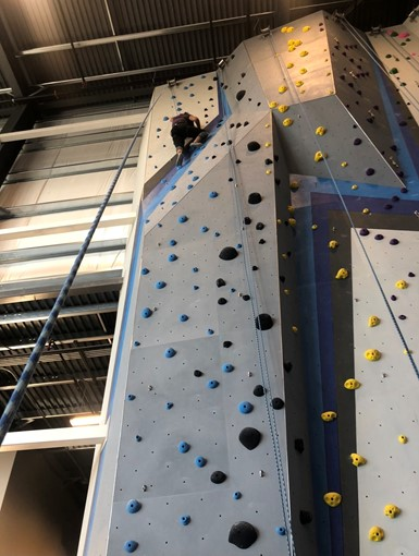 Looking up a grey indoor rock-climbing wall with blue, black, and yellow holds on it. A person is climbing half-way up.
