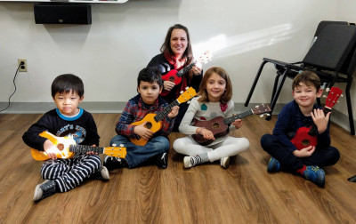 Image of 4 children and teacher