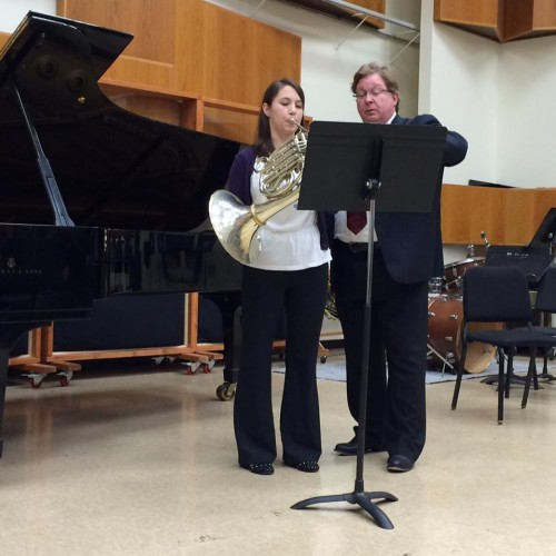 ESM Hornist Jessica Elder performing in a masterclass for Professor VerMeulen