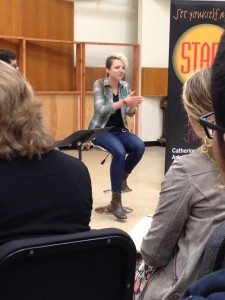 Claire Courchene speaking to students at Eastman