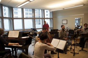 eighth blackbird fits in a rehearsal during the Curtis Residency. The ensemble enjoyed a dedicated room during their residency. From Left to right: Lisa Kaplan, Yvonne Lam, Nick Photinos, Matthew Duvall, Michael Macceferri, and former member Tim Munro.