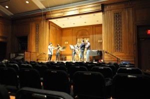 members of eighth blackbird rehearse with conservatory students for that evening's concert of music from 1924 at the Curtis Institute of Music.