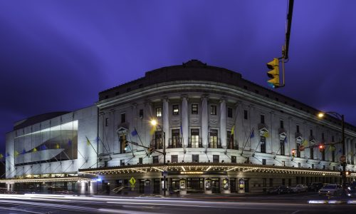 Exterior of University of Rochester Eastman School of Music's Eastman Theatre is pictured during Meliora Weekend October 9, 2015.  // photo by J. Adam Fenster / University of Rochester