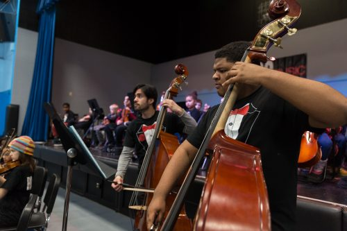 Double bass players with orchestra