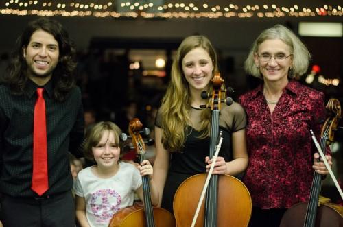 Kathy Kemp and string students