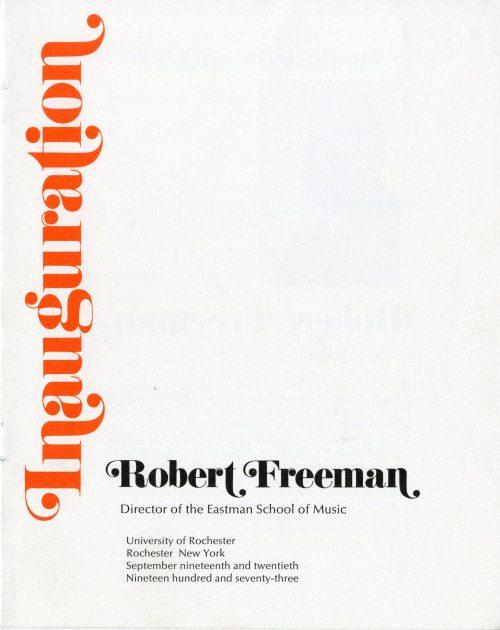 1972 September Inauguration program front cover