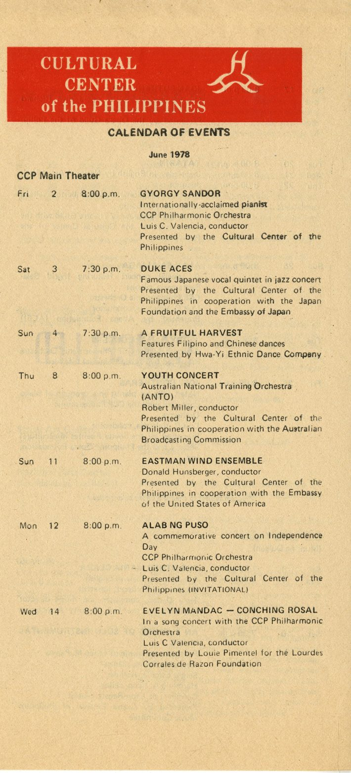 Calendar of events for the Cultural Center of the Philippines in Manila, showing the EWE's June 11th concert.