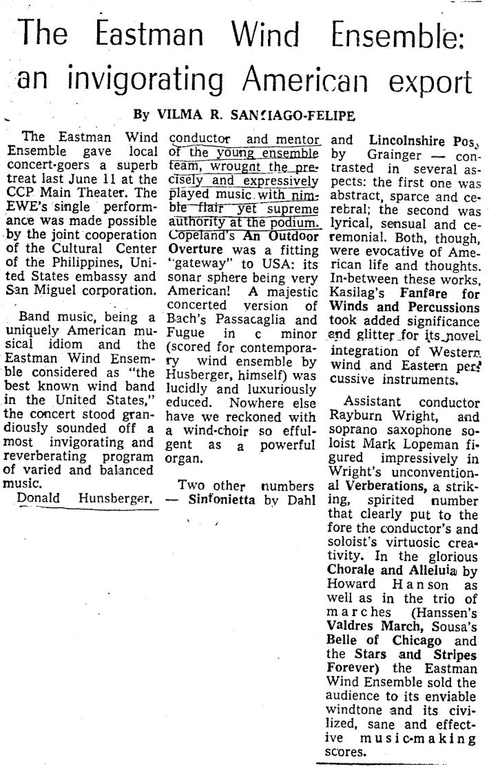 Press review of the EWE's concert of June 11, 1978, in Manila.