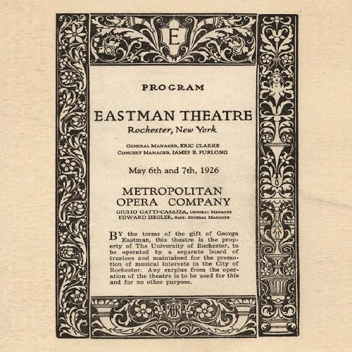 """Cover of the concert program for the Metropolitan Opera Company's May 1926 performance of """"Rigoletto"""" in Eastman Theatre, showing text with an elaborate border."""