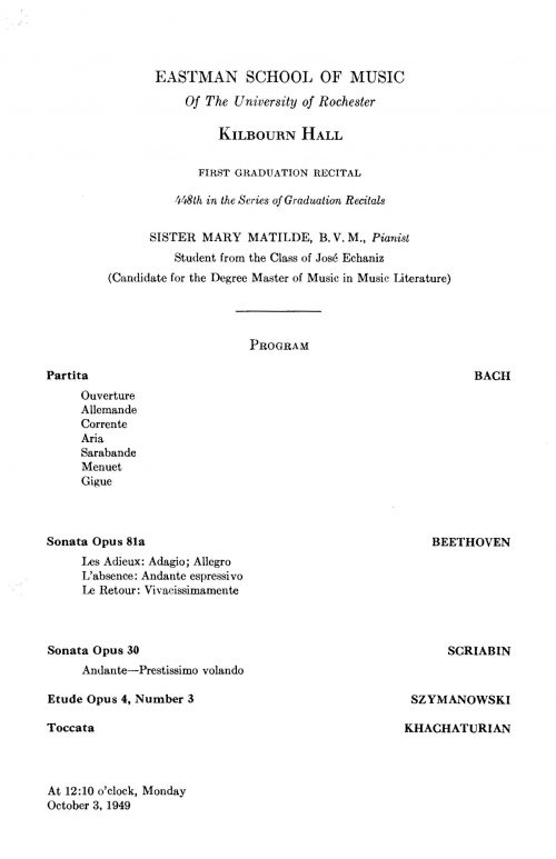 Sister Mary Matilde B. M. V. Piano Recital