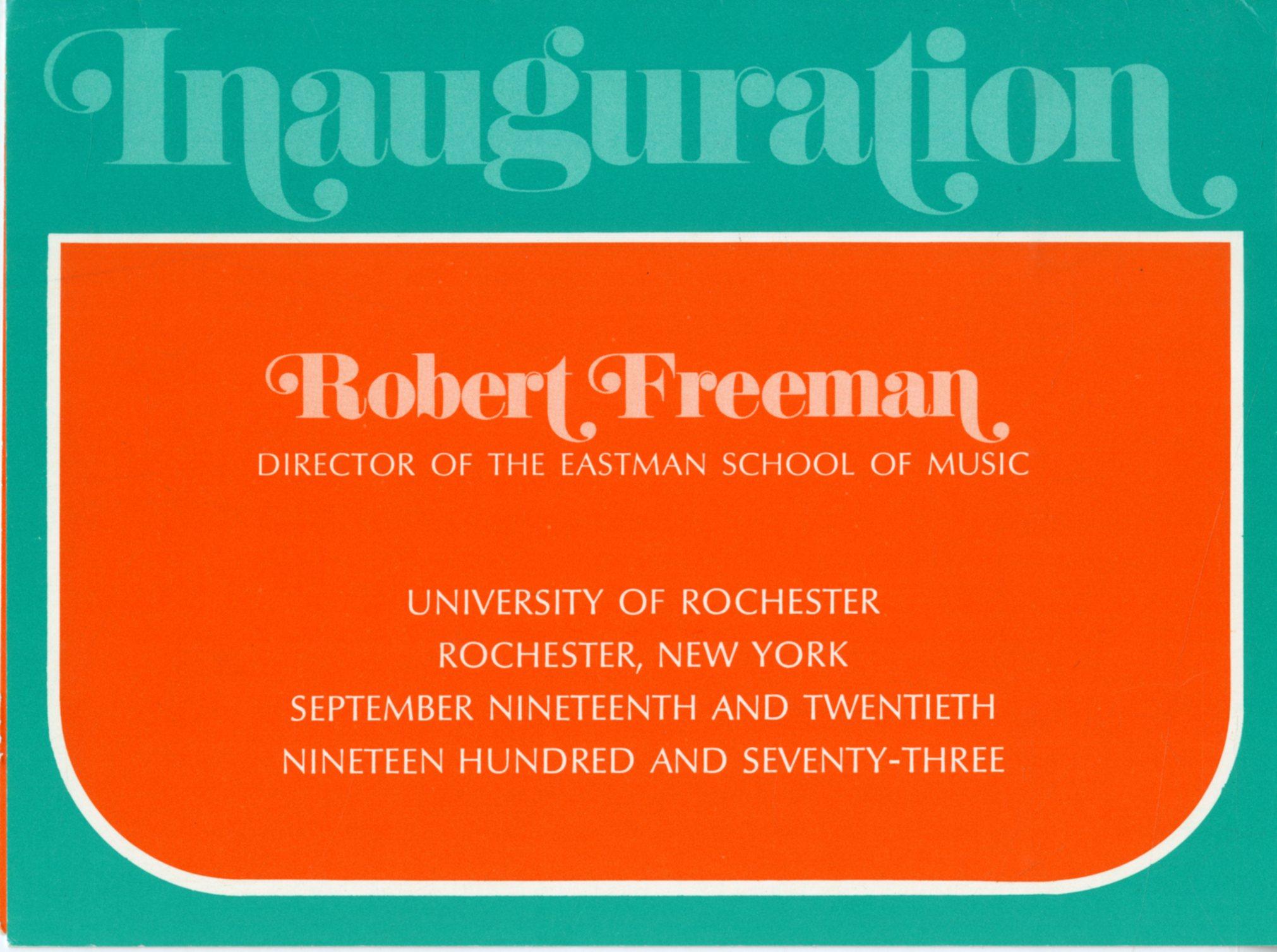 1972 September Inauguration invitation FRONT