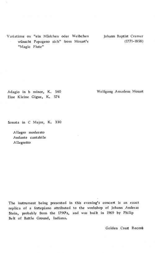 Malcom Bilson playing fortepiano program page 4