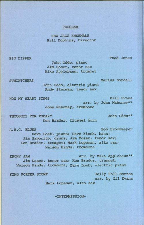 Eastman New Jazz Ensemble concert program page 2