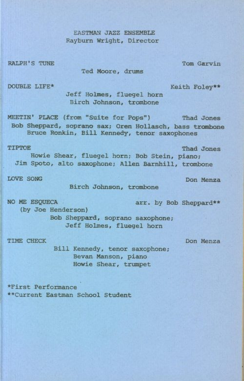 Eastman New Jazz Ensemble concert program page 3