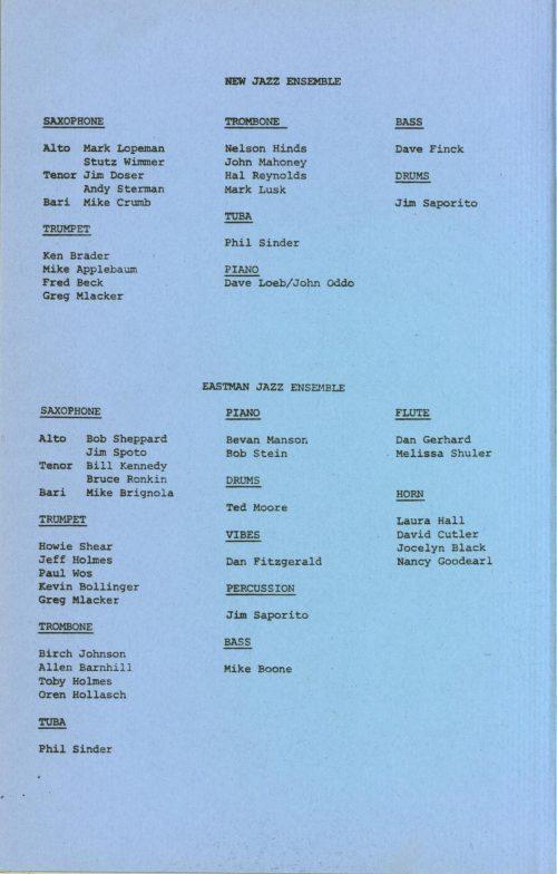 Eastman New Jazz Ensemble concert program page 4