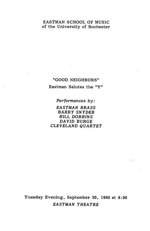 Good Neighbors: Eastman Salutes the Y program page 1