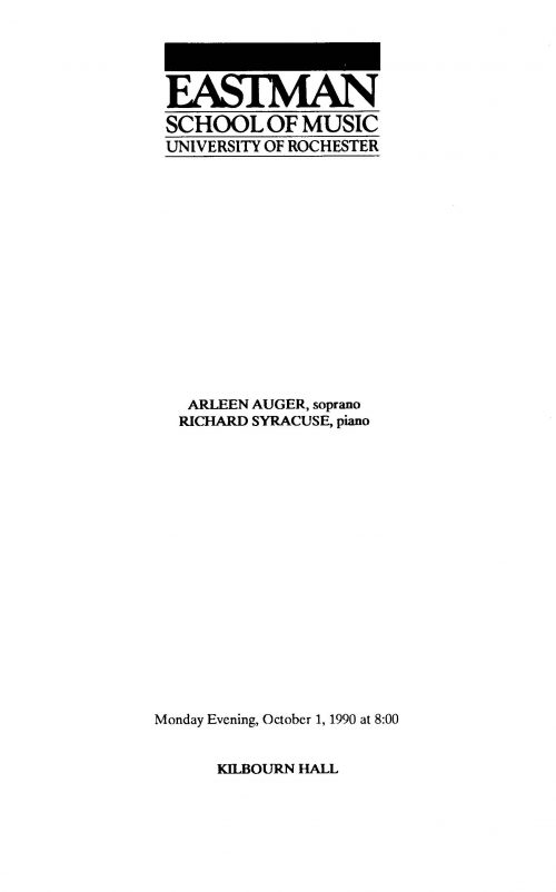 Arleen Auger, soprano with Richard Syracuse, pianist page 1