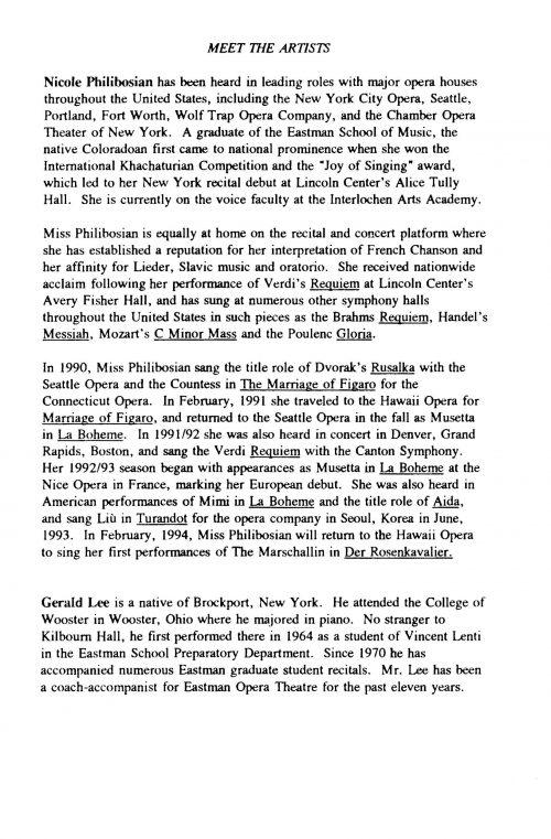 Nicole Philibosian, Soprano, and Gerald Lee, Piano Page 3