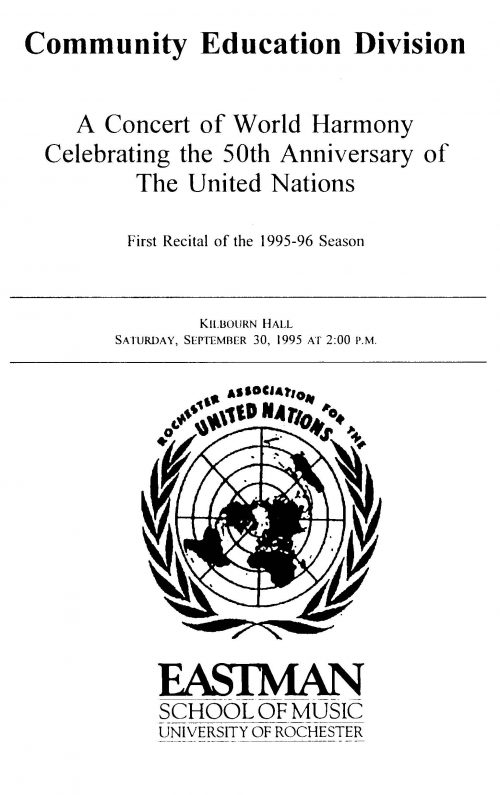 United Nations 50th anniversary concert program Page 1