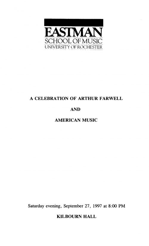 A Celebration of Arthur Farwell and American Music Concert program Page 1
