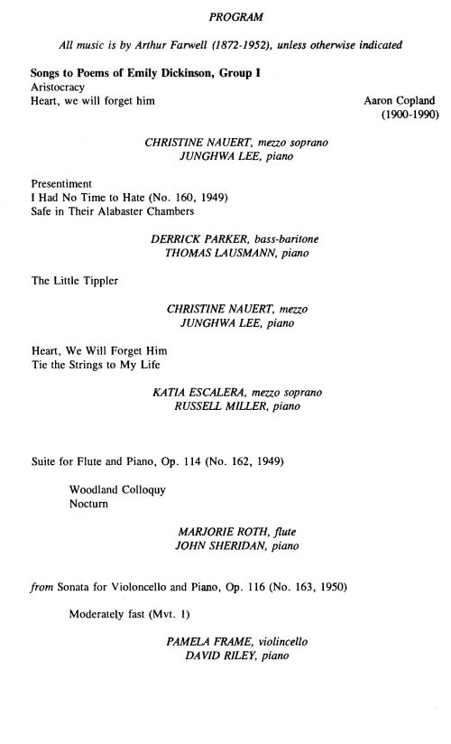 A Celebration of Arthur Farwell and American Music Concert program Page 2