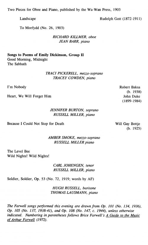 A Celebration of Arthur Farwell and American Music Concert program Page 3