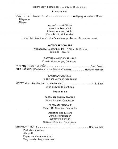 1972 September Inauguration program page 1