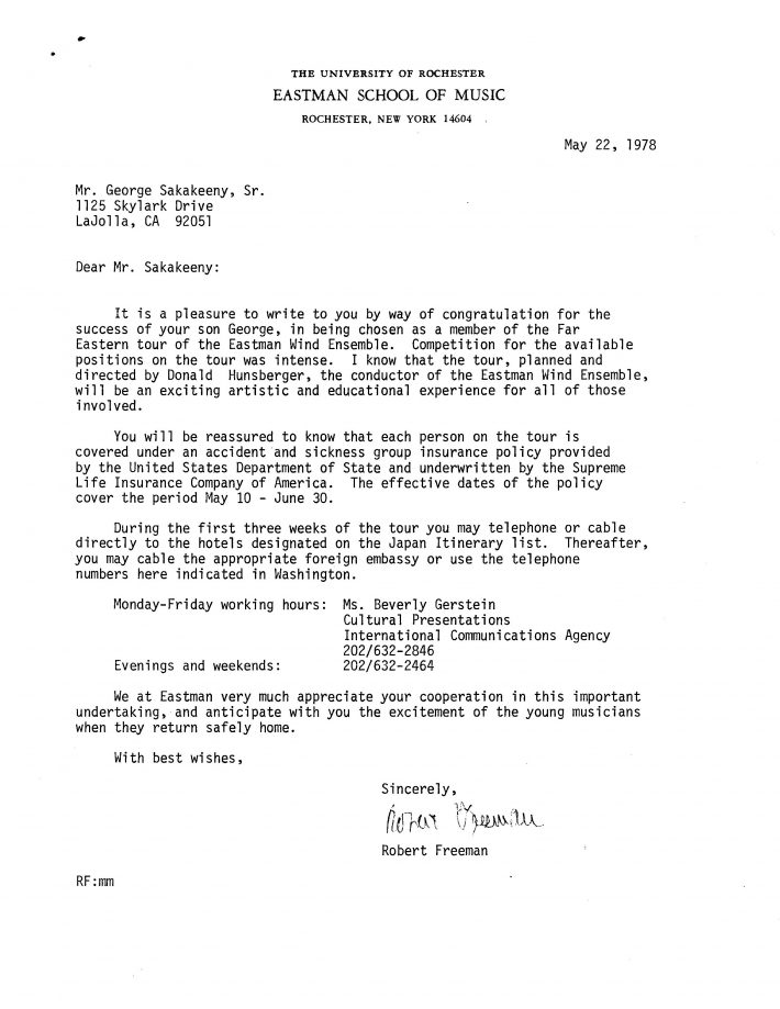 Letter from Eastman director Robert Freeman to members of the EWE selected for the 1978 EWE tour.