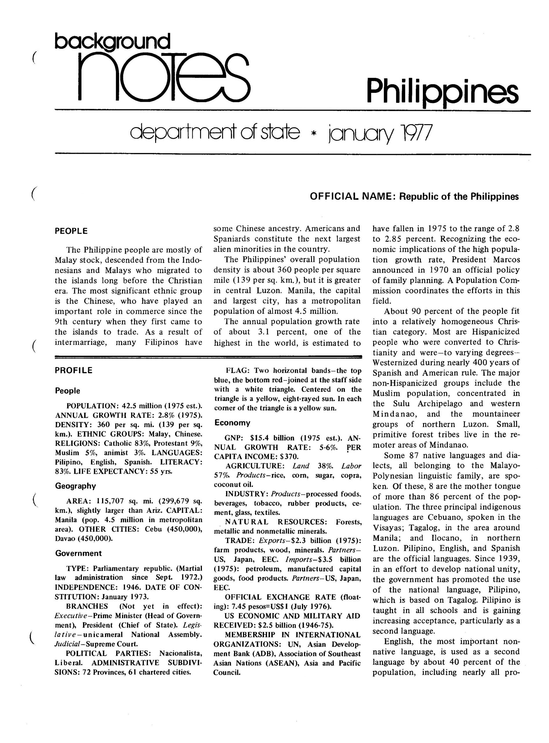 State department notes- Philippines