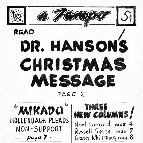 """Cover of the December 14, 1947, issue of """"A Tempo,"""" with a brief, handwritten table of contents for the issue."""