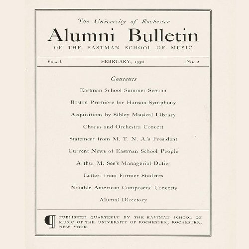 Cover of the February 1930 issue of the Eastman Alumni Bulletin, with a typeset list of contents.