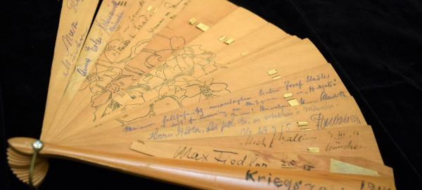 This fan is memorabilia from the Bayreuth Festival (1914). It contains the autographs of several contemporary conductors, composers, and performers, including Max Fielder and Max Reger as well as Bruno Walter and Richard Strauss (on the other side). [Bayreuth Fans, Fan 3]