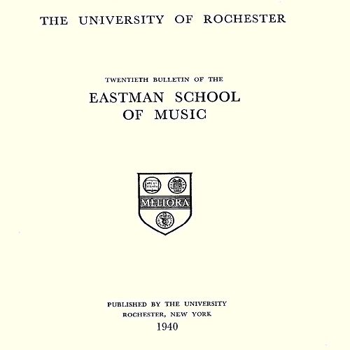 Cover of the 1940 to 1941 annual bulletin of the Eastman School of Music, with the university's seal in the center.