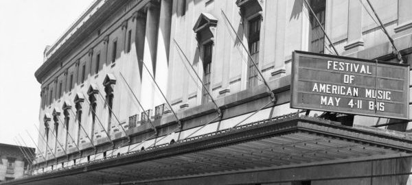 Black and white photo of the exterior of Eastman's main building, viewed from the south end of Gibbs Street (circa 1930s).