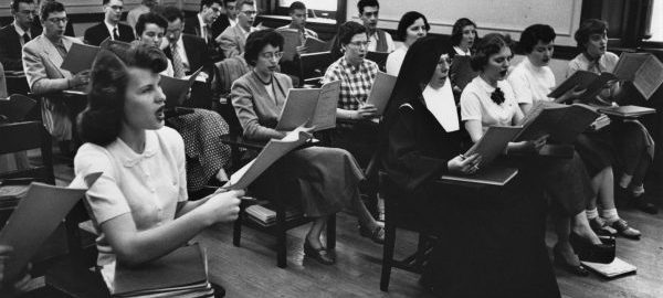 Eastman students in a Counterpoint Sight Singing Class (1954). Photograph from ESPA 5/29 (8x10).