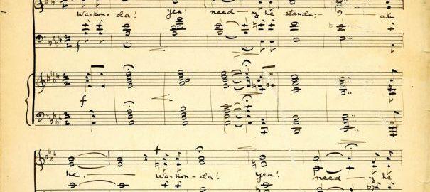 "A harmonization of the ""Omaha Tribal Prayer"" by Arthur Farwell (ink manuscript). [Arthur Farwell Collection, Box 1, Folder 1]"