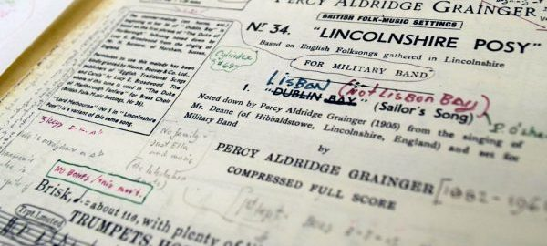 The Frederick Fennell Collection contains a substantial personal music library, including extensively annotated conductor's scores. This score of Linconshire Posy by Percy Grainger typifies Fennell's meticulous score study. [Frederick Fennell Collection, Box 2, FF 1083]