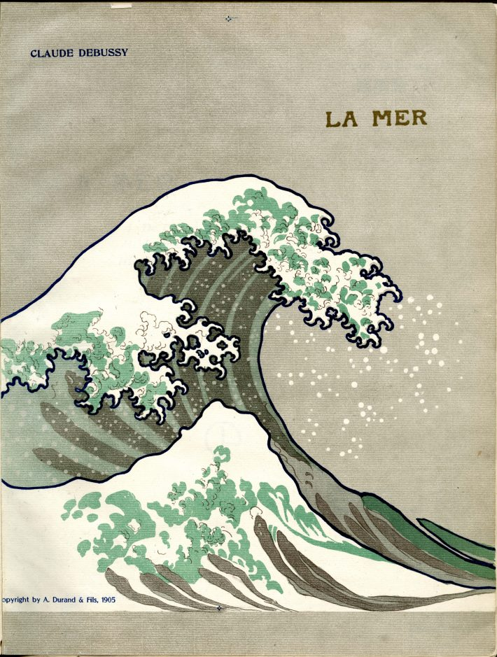 """Cover illustration for the first edition of the """"La Mer"""" score with image from Hokusai's print """"The Great Wave off Kanagawa."""