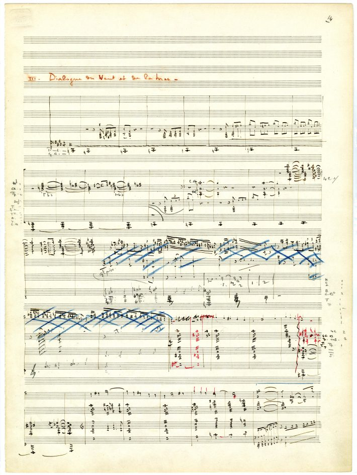 La mer, 1st page of movement 3: title in red pencil, music notation in black ink, with many corrections in colored pencils.