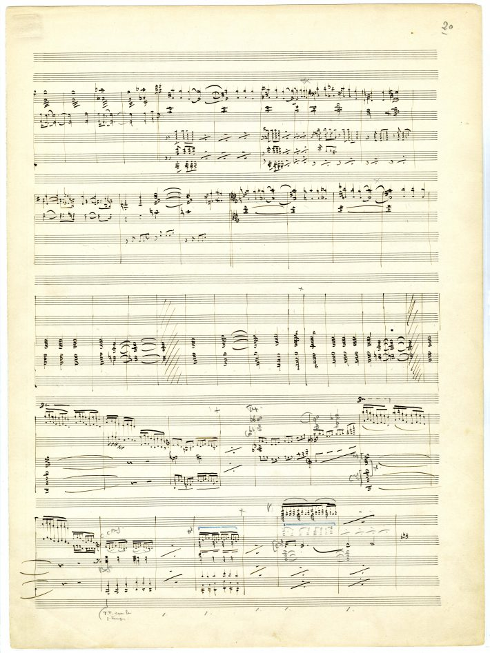 La mer, page 20 of score: music notation in black ink with 2 measures on page crossed out in black ink and corrections in pencil.