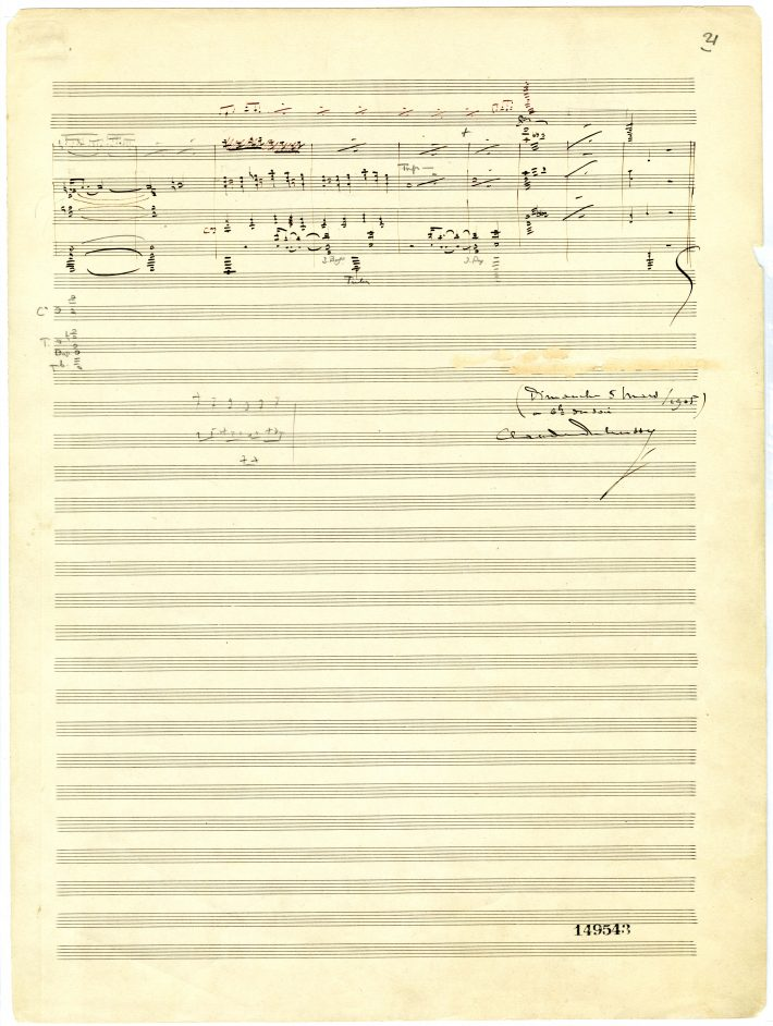 La mer, page 21 of score: one score of music notation in black ink above Debussy's signature and the date of completion.