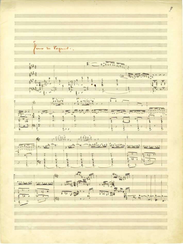 La mer, 1st page of movement 2: movement title in red pencil, music notation in black ink with pencil additions above the 3rd score.