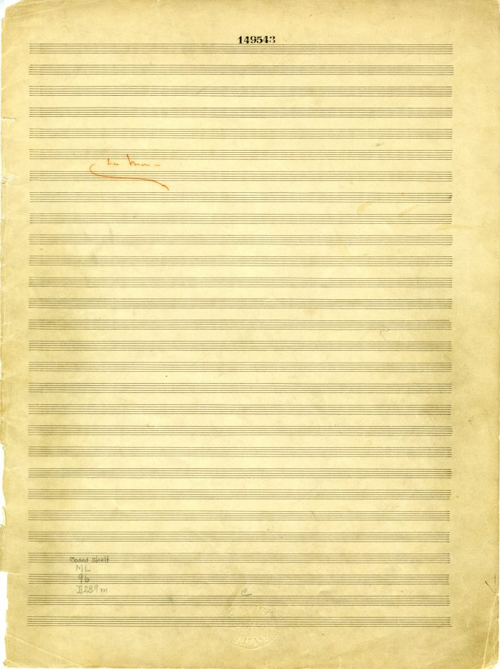 """Title page from Debussy's """"La mer"""" short score: music manuscript paper with """"La mer"""" written in red pencil."""