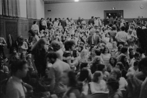 The standing-room-only-capacity audience at Strong Auditorium on October 1, 1971.