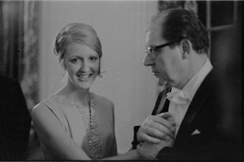 Pianist Katherine Collier, '70, '73 with conductor Walter Hendl