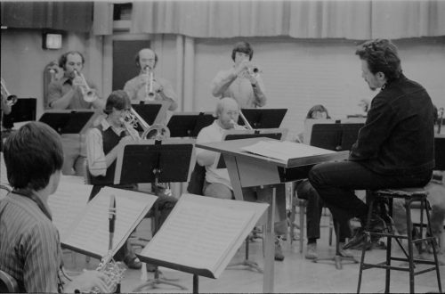 Bill Dobbins directing Eastman New Jazz Ensemble players in Room 120.