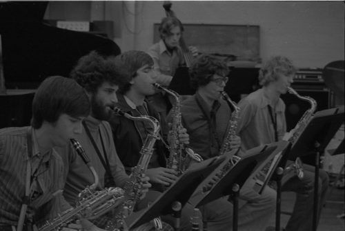 Eastman New Jazz Ensemble saxophone section in rehearsal.