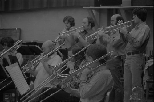 Eastman New Jazz Ensemble trumpeters and trombonists in rehearsal.
