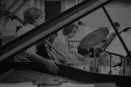 At center, drummer James Saporito, '77.