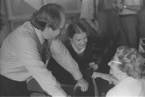 L-R, John Perry, an unidentified student, and Cécile Genhart.